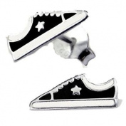 Silvadore - 925 Sterling Silver Childrens Stud Earrings - Converse Shoe Trainer Boot Star White Black - Butterfly Clasp.