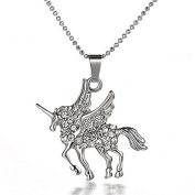 White Gold Plated Crystal Encrusted Unicorn Short Necklace 46cm (Organza Gift Pouch Included).