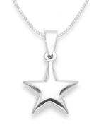 """Children's Sterling Silver Star Pendant Necklace on 14"""" Silver chain - SIZE"""