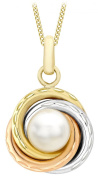 Carissima Gold 9 ct Three Colour Gold Diamond Cut Ring and Pendant