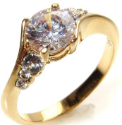 Ah! Jewellery Elegant Gold Filled Promise Lab Created Diamond Engagement Ring. 6.5mm Centre Stone With 3 Perfectly Round Lab Diamonds Running Along Each Side. 2.5gr Total Weight And 7mm Total Width.