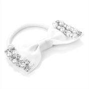 White Pearl Bow Hair Elastic AJ26049
