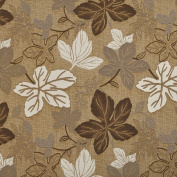 Designer Fabrics A395 140cm . Wide Beige And Ivory Large Leaves Textured Metallic Upholstery Fabric