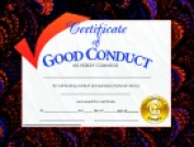 Hayes 22cm x 28cm . Good Conduct Certificate Pack 30