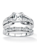 PalmBeach Jewellery 493646 1.88 TCW Princess-Cut Cubic Zirconia Platinum over Sterling Silver Engagement Wedding Band Set Size 6