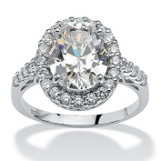 PalmBeach Jewellery 523598 4.44 TCW Oval Cut Cubic Zirconia Platinum over Sterling Silver Halo Ring Size 8