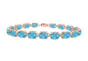 Fine Jewellery Vault UBBR57AGVRBT Tennis bracelets oval cut created blue topaz in 14K rose gold vermeil. 15 CT. TGW. 18cm .