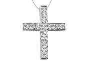 Fine Jewellery Vault UBPDR897W14D 14K White Gold Cross with Princess Cut Diamond Pendant Necklace of 0.75 Carat Diamonds