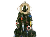 Handcrafted Model Ships Lifering 15-327-XMASS Vintage White Lifering With Rope Christmas Tree Topper Decoration