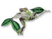 Zarah 21-22-Z2 Frog On Twig Ultrafine Silver Plate Pin