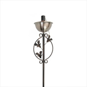 NorthLight 160cm . Brushed Copper Floral Motif Garden Oil Lamp Outdoor Patio Torch
