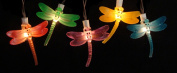 NorthLight Battery Operated LED Dragonfly Garden Patio Umbrella Lights With Timer Set 10