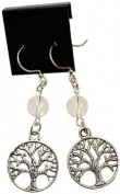 AzureGreen JETQZ Quartz Tree Of Life Earrings