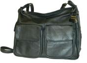 Leather In Chicago GD1870-BLK Lambskin Leather Shoulder Bag Black