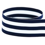 1cm Navy & White Taffy Striped Grosgrain Ribbon - 100 Yards - USA Made -