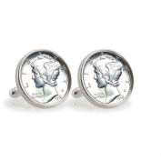 UPM Global LLC 12785 Silver Mercury Dime Sterling Silver Cuff Links
