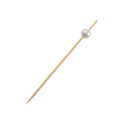PacknWood 209BBBIJ9 8.9cm . Bijou Bamboo Pick With White Pearl Pack Of 2000