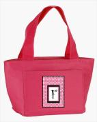 Carolines Treasures CJ1001-F-PK-8808 Monogram Letter F - Pink Black Polka Dots Lunch Bag or Doggie Bag
