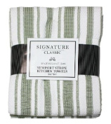 J & M Home Fashions 3537 46cm x 70cm . Newport Sage Green Striped Kitchen Towels - 3 Pack Pack Of 3