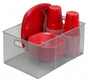 YBMHome 198 Silver Mesh Open Bin Storage Basket Organiser