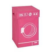 Honey-Can-Do HMP-04287 Square Hamper with lid Washing Machine Graphic pink