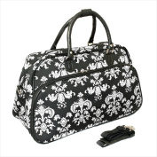 All-Seasons 812014-630 50cm . Damask Carry-On Shoulder Tote Duffel Bag Black & White