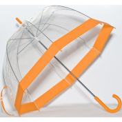 Elite Rain Frankford RB01-OR Clear Bubble Umbrella Orange Trim