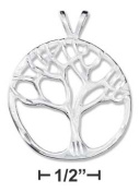 Plum Island Silver P-012298 Sterling Silver 25mm Satin and Diamond Cut Tree of Life Pendant - Size 98