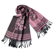 Blancho Bedding Pa-616-7 Pink Base Peony Flowers Patterns Exquisitely Soft Woven Pashmina/Shawl/Scarf