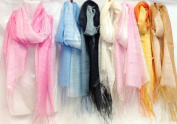 Bulk Buys Wholesale Two Tone Colour Scarves with Fringes - Case of 36