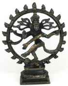 AzureGreen SS45A 15cm . Shiva Dancing Statue in Antiqued Bronze