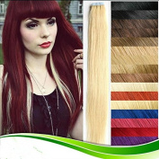 Futuretrend Wholesale Remy Tape Hair Extensions 20pcs/lot 41cm - 60cm Tape in Human Hair Extension Straight Brazilian PU Hair Skin Weft Hair Colour #613
