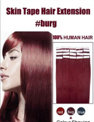 Futuretrend Wholesale Remy Tape Hair Extensions 20pcs/lot 41cm - 60cm Tape in Human Hair Extension Straight Brazilian PU Hair Skin Weft Hair Colour #BURG