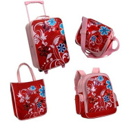 Girl's Large Travel Set 5 Pieces Includes Trolley / Rucksack /Bag etc. Pink