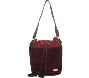 Aryana Adi-12-Red Chic Oxblood Drawstring Bucket Style Zip Closure Womens Handbag