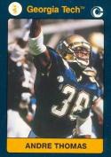 Autograph Warehouse 96697 Andre Thomas Football Card Georgia Tech 1991 Collegiate Collection No. 18