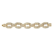 PalmBeach Jewellery 54065 Pave Crystal Panther Link Bracelet in Yellow Gold Tone