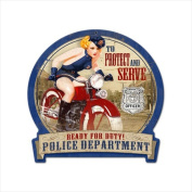 Past Time Signs HM001 Police Bike Motorcycle Round Banner Metal Sign