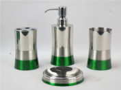 Hopeful Enterprise Inc BA120216-SET4 Bathroom Set 4 Stainless Steel-Green