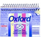 Oxford Perforated Ruled Spiral Bound Index Card White Pack - 50