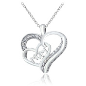 Lion Jewellers P13980 0.13 Carat Sterling Silver Diamond MOM Double Heart Necklace