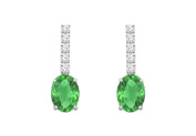 Fine Jewellery Vault UBUER911CZEAG Created Green Emerald Earrings with Cubic Zirconia Prong Set in 925 Sterling Silver 1.25 Carat T