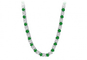 Fine Jewellery Vault UBNK16W14DE 14K White Gold Emerald Diamond Eternity Necklace 16 CT TGW