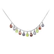 Fine Jewellery Vault UBNC519W14MC Multicolor Gemstone Necklace 14K White Gold 7 CT TGW