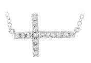 Fine Jewellery Vault UBPDS651343AGCZ Sterling Silver Diamond Horizontal Cross 46cm . Necklace