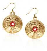 Whimsical Gifts 1218G-ER Rock On CD Charm Earrings in Gold
