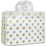 Deluxe Small Business Sales 268-160612-157C 16 x 15cm x 30cm . Dots Frosted Flex Loop Shoppers Gold and Silver on Clear