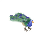 NorthLight 33cm . Colourful Green Regal Peacock Bird With Closed Tail Feathers Christmas Decoration