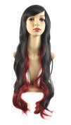 "Xiaoyu 28""80cm Long Curly Black Gradient Red Synthetic Hair Cosplay Wigs"