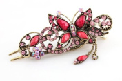 Pink Red Women's Vintage Style Butterfly Inlaid Bead Beaded Hair Pin Clip Barrette for Long Hair Ponytail